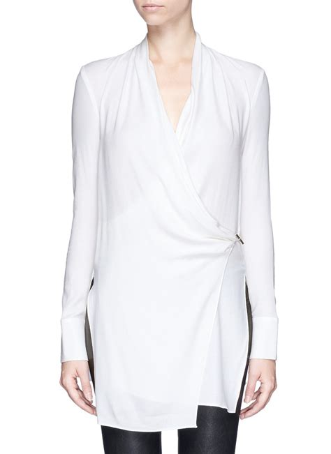 wrap front blouse helmut lang 39 fold drape 39 wrap front blouse in white