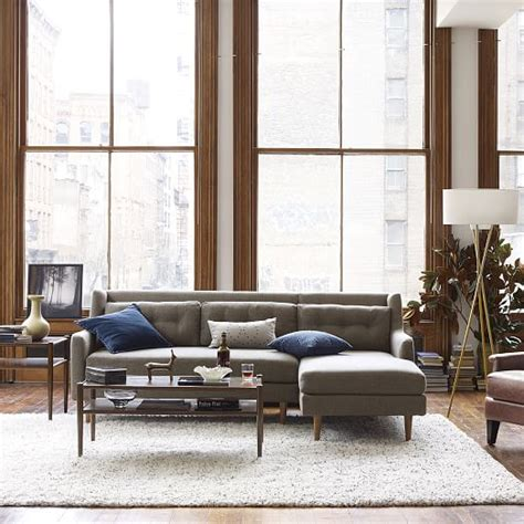 West Elm Crosby Sofa Sectional by Crosby 2 Chaise Sectional Shale Pebble Weave