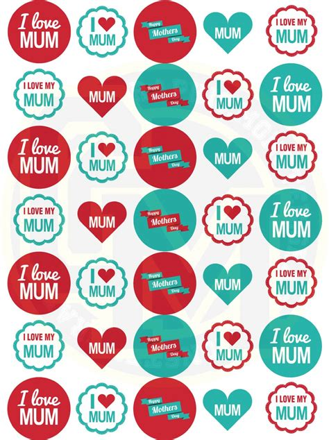 mothers day stickers mm paper rounds craft party