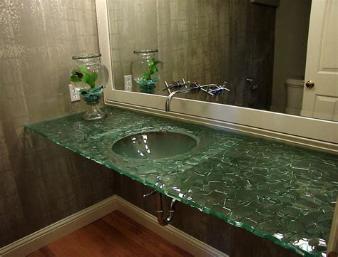 Glass Bathroom Countertops Sinks by Slumped Glass Vanity Contemporary Bathroom Sinks