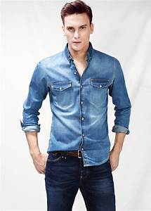 Mango Classicfit Vintage Denim Shirt in Blue for Men (Dirty) | Lyst
