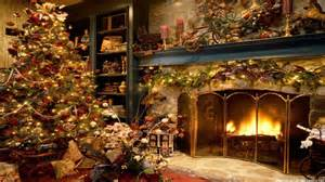 christmas tree and fireplace wallpaper freechristmaswallpapers net