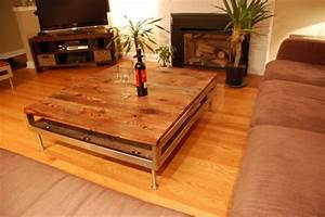 Barn board coffee table on reclaimed stainless steel base for Barn board coffee table