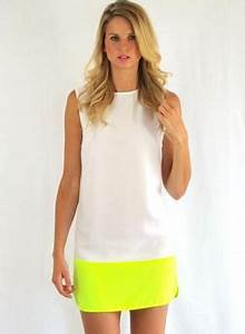White Cocktail Dress White and Neon Yellow Colorblock