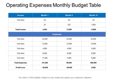 operating expenses monthly budget table powerpoint