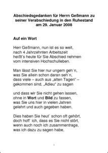 Abschiedsgedanken für Herrn Geßmann zu seiner