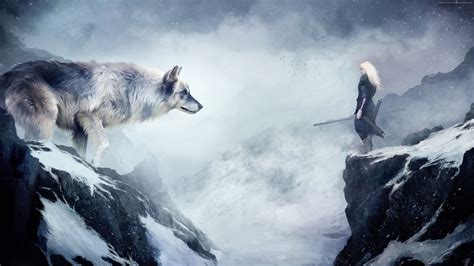 Wallpaper wolf, 4k, HD wallpaper, mountain, girl, animals, winter, drawing, snow, fantasy, art