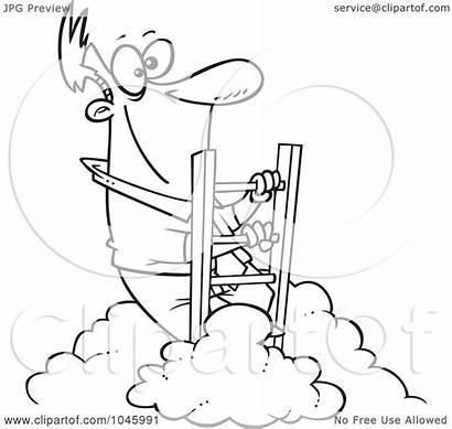 Above Climbing Clouds Cartoon Outline Businessman Clip