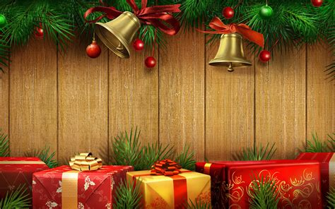holiday background gifts bells  pine widescreen