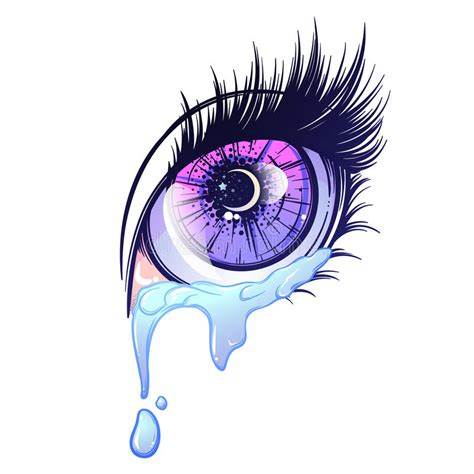 Anime Eye Reflection Eye In Anime Or Style With Teardrops And