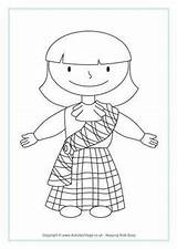 Coloring Pages Scottish Colouring Burns Night Sheets Activities Tartan St Scotland Crafts Andrew Kilt Skirt Printable Piper Flag Dance Robbie sketch template