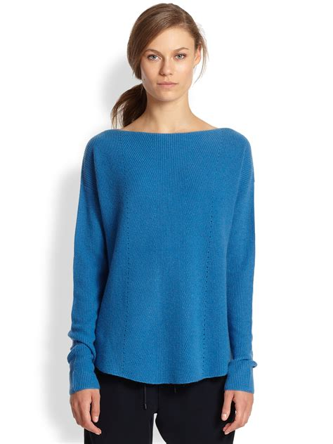 Boat Neck Cashmere Sweater by Vince Ribbed Cashmere Relaxed Boatneck Sweater In Blue Lyst