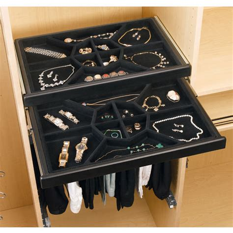 jewelry storage jewelry drawer  full extension  velvet inserts  rev  shelf