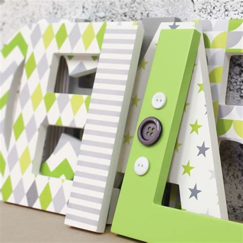 lime grey mix patterned letters