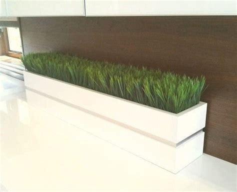 modern white lacquer planter box  grass