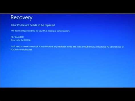 fix windows  boot error filebootbcd error code xcc youtube
