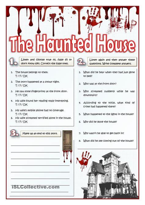 haunted house listening  writing actividades de