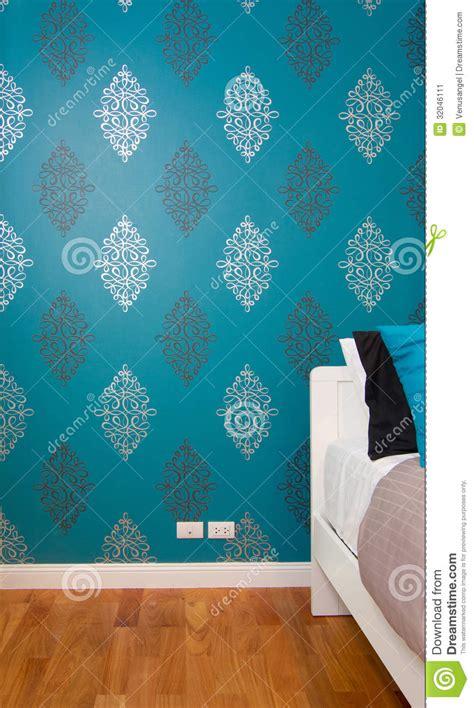 interior bedroom  luxury blue wallpaper stock image