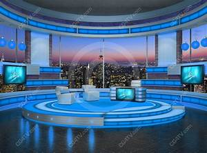 Talk Show Virtual Set Turquoise
