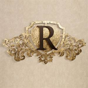 Generations gold monogram crest metal wall art sign