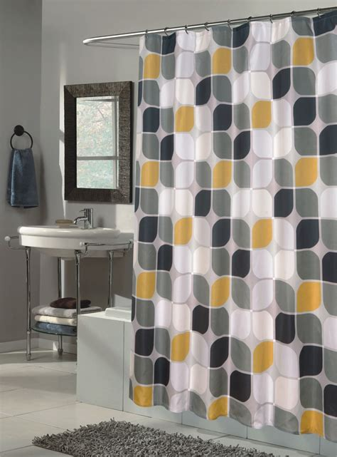 yellow and grey bathroom window curtains bathroom shower curtain with geometric pattern yellow