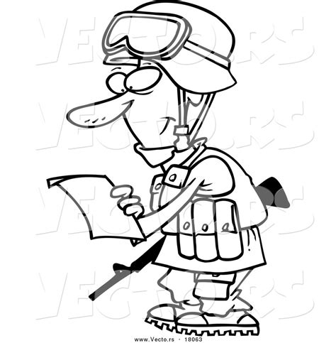 Vector Of A Cartoon Soldier Reading A Letter Outlined