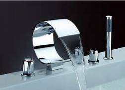 Bathtub Spigot Five Installation Hole Waterfall Bathtub Faucet Chrome Finish