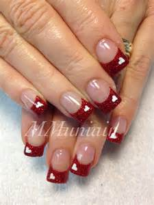 Valentine nails i would do white tips with red heart
