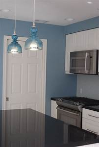 remodelaholic bright and blue and beautiful kitchen remodel With kitchen colors with white cabinets with christmas stair stickers