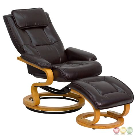 Contemporary Leather Recliner And Ottoman by Contemporary Brown Leather Recliner And Ottoman With