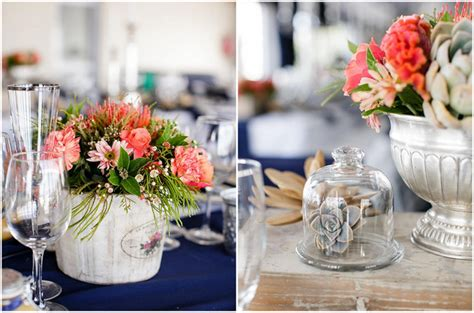 nautical flower arrangements nautical wedding in coral and navy 1049