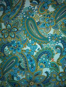 Blue and green paisley fabric | Paisley | Pinterest