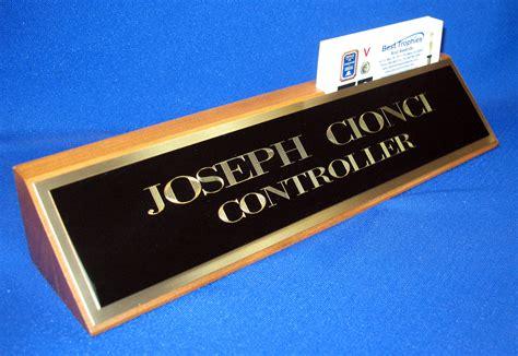 desk name plate with card holder walnut desk name plate with business card holder and black