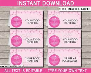 Disco party food labels place cards disco theme for Food label template for party