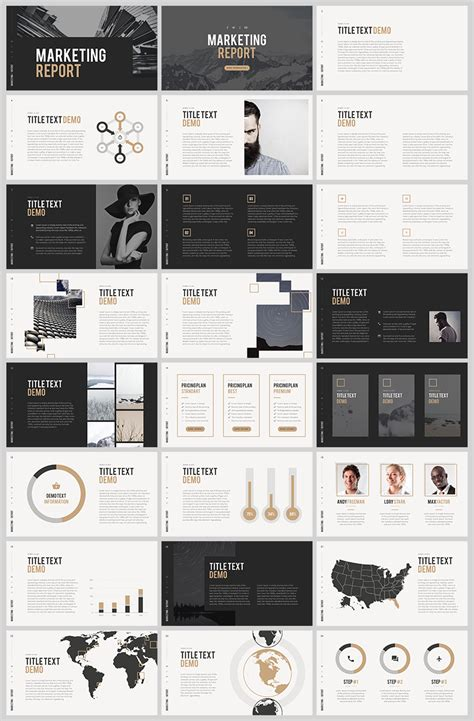 marketing report  powerpoint template layout