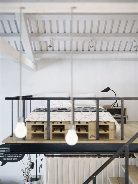 Chic Scandinavian Studio With Lofted Bed by Chic Scandinavian Studio With Lofted Bed Bedroom Lit
