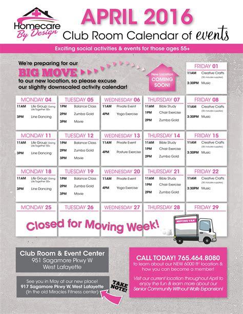 homecare by design april calendar home care personal service agency