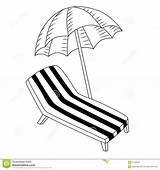 Chair Umbrella Deck Coloring Illustration Draw Isolated Vacation Vector Getdrawings sketch template