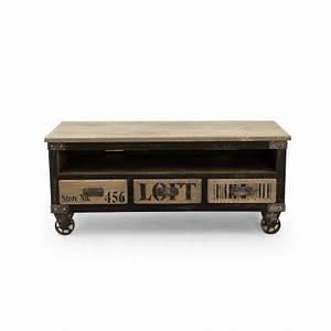 Meuble Tv Style Industriel Pas Cher : meuble tv industriel new york 3 tiroirs ~ Teatrodelosmanantiales.com Idées de Décoration