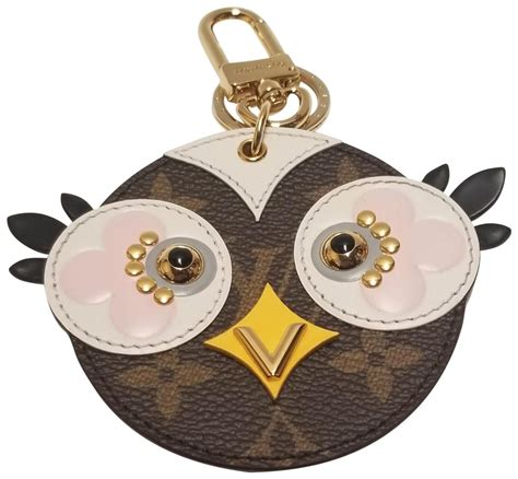 louis vuitton brown mg lovely birds owl charm key chain