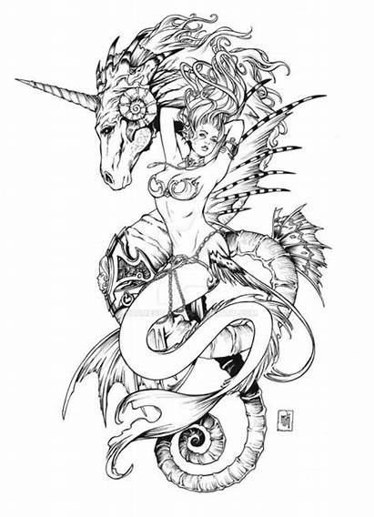 Mermaid Tattoo Coloring Pages Deviantart Unicorn Hairstyles