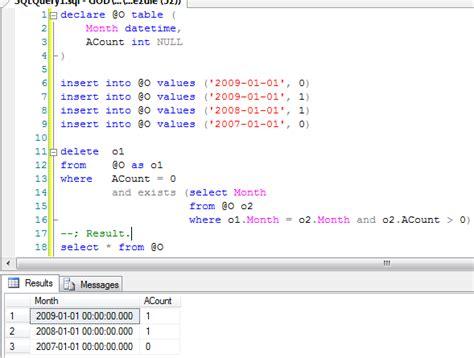 table alias delete statement sql variables text
