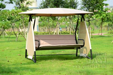 Outdoor Covered Swing Bench W/canopy Seats 3 Garden