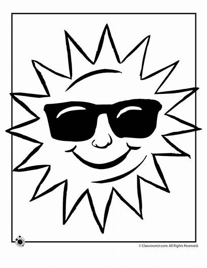 Coloring Sun Pages Weather Summer Clipart Sunglasses