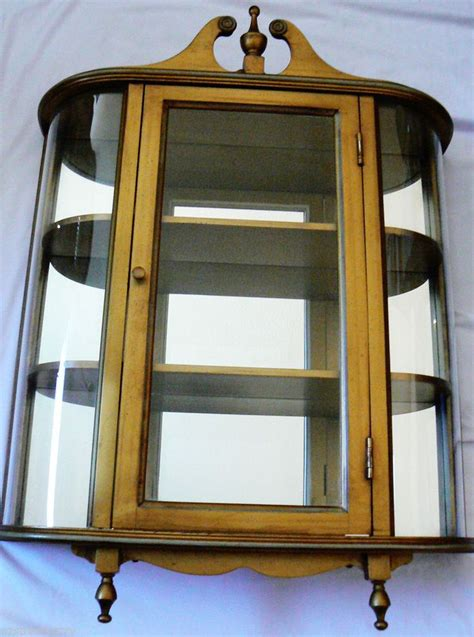 butler 3 shelf wood mirror concave curved glass curio cabinet wall mount glass curio cabinets