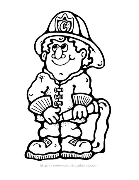 Cartoon Fireman Coloring Page