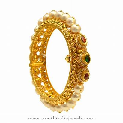 Gold Bangle Pearl Latest Bangles Jewellery India