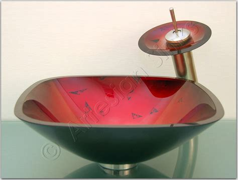 17 In Square Shaped Red And Silver Tempered Glass Bathroom