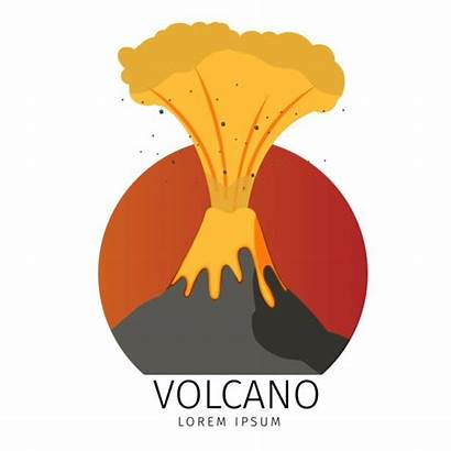 Vector Spewing Volcano Volcanic Clipart Icons Illustration
