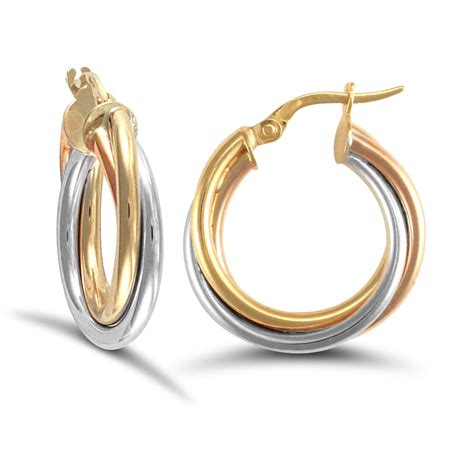 9ct yellow white and gold russian wedding ring 3mm hoop earrings 20mm